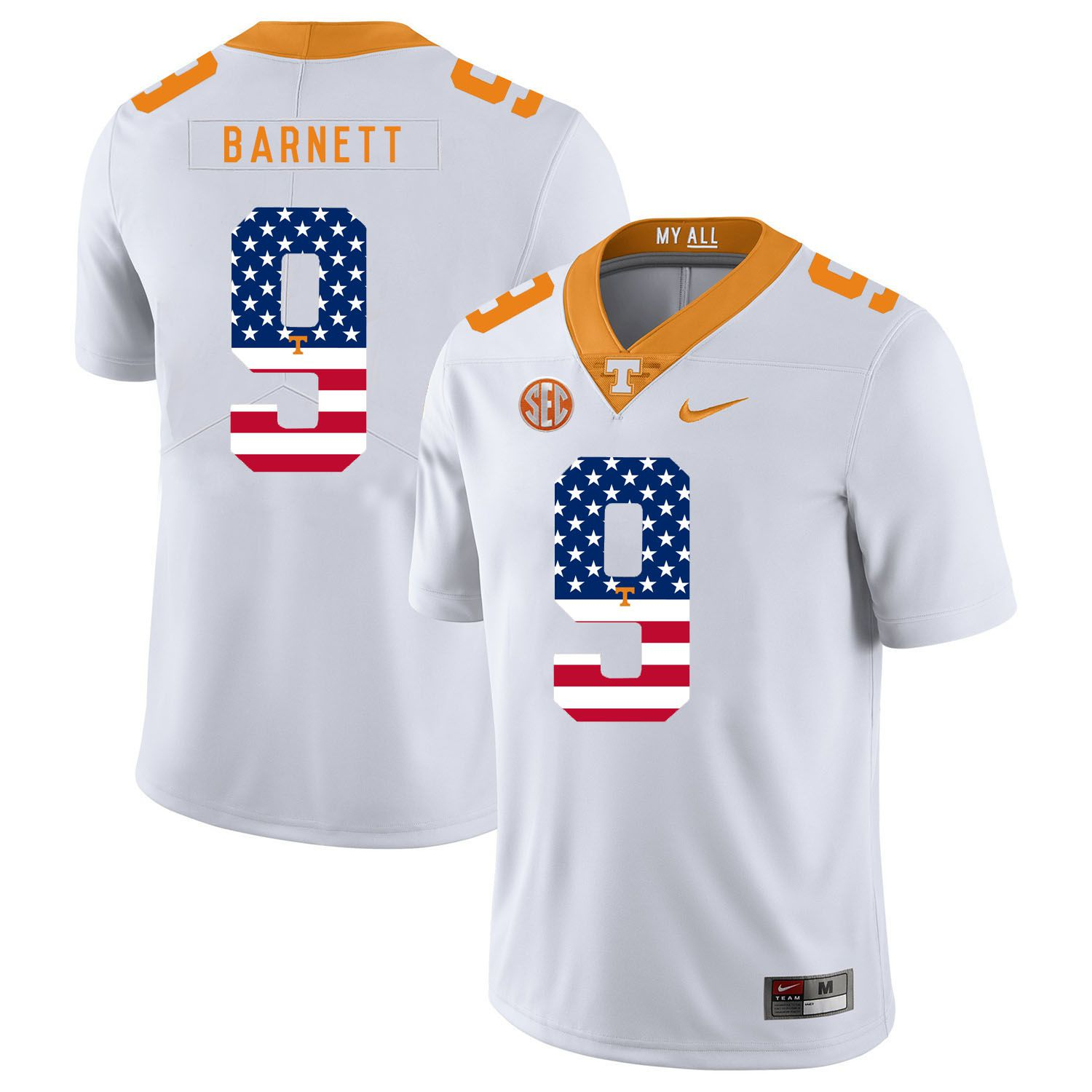 Men Tennessee Volunteers 9 Barnett White Flag Customized NCAA Jerseys