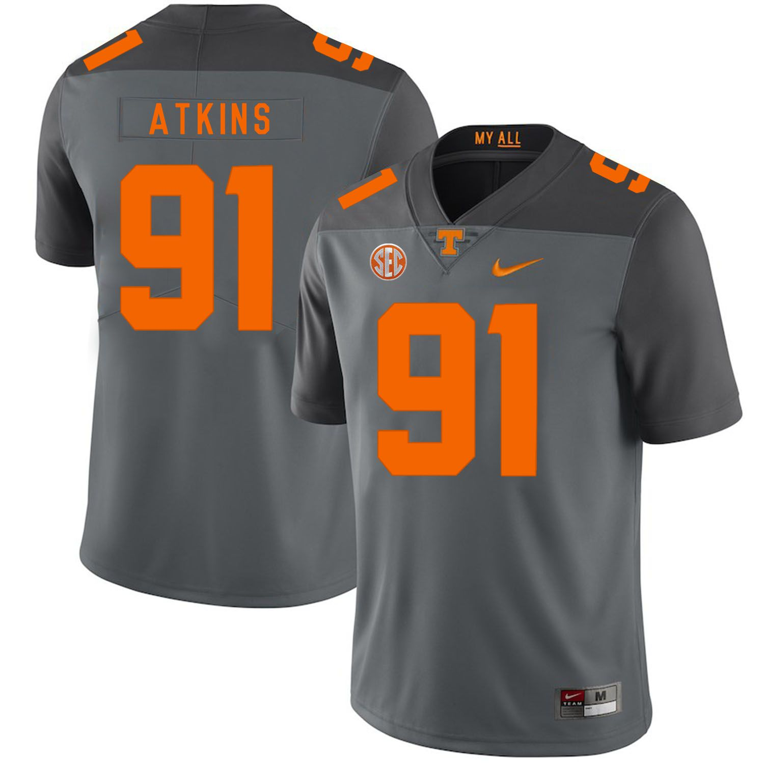 Men Tennessee Volunteers 91 Atkins Grey Customized NCAA Jerseys