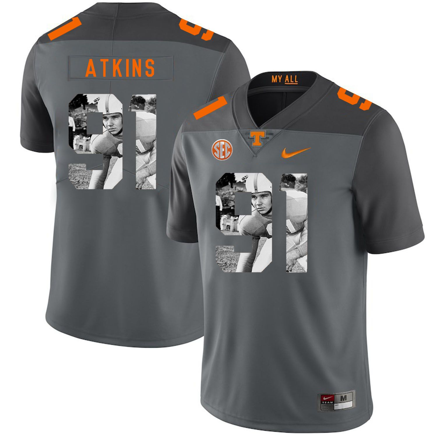 Men Tennessee Volunteers 91 Atkins Grey Fashion Edition Customized NCAA Jerseys