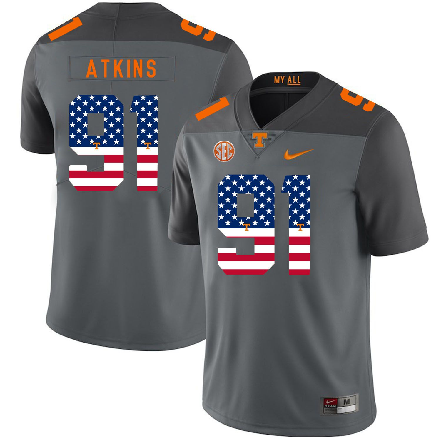 Men Tennessee Volunteers 91 Atkins Grey Flag Customized NCAA Jerseys