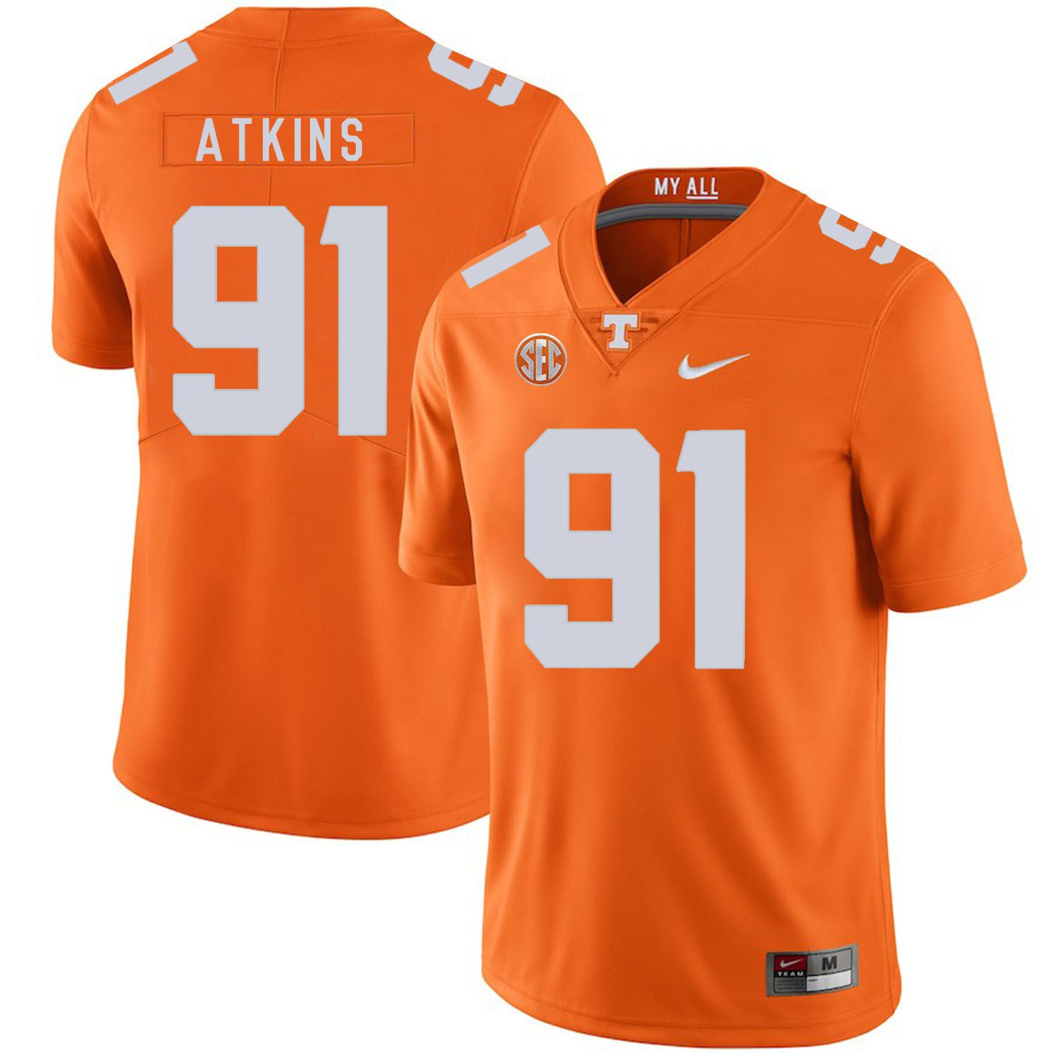 Men Tennessee Volunteers 91 Atkins Orange Customized NCAA Jerseys