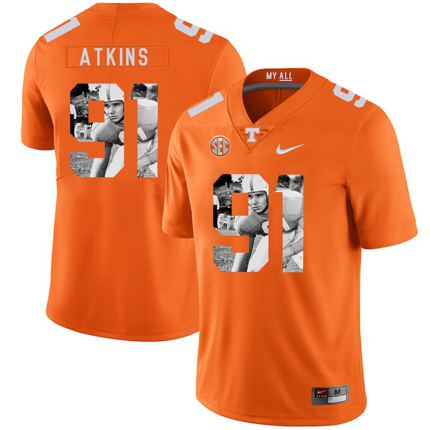 Men Tennessee Volunteers 91 Atkins Orange Fashion Edition Customized NCAA Jerseys