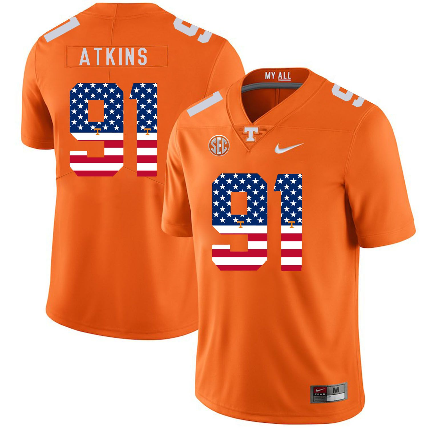Men Tennessee Volunteers 91 Atkins Orange Flag Customized NCAA Jerseys