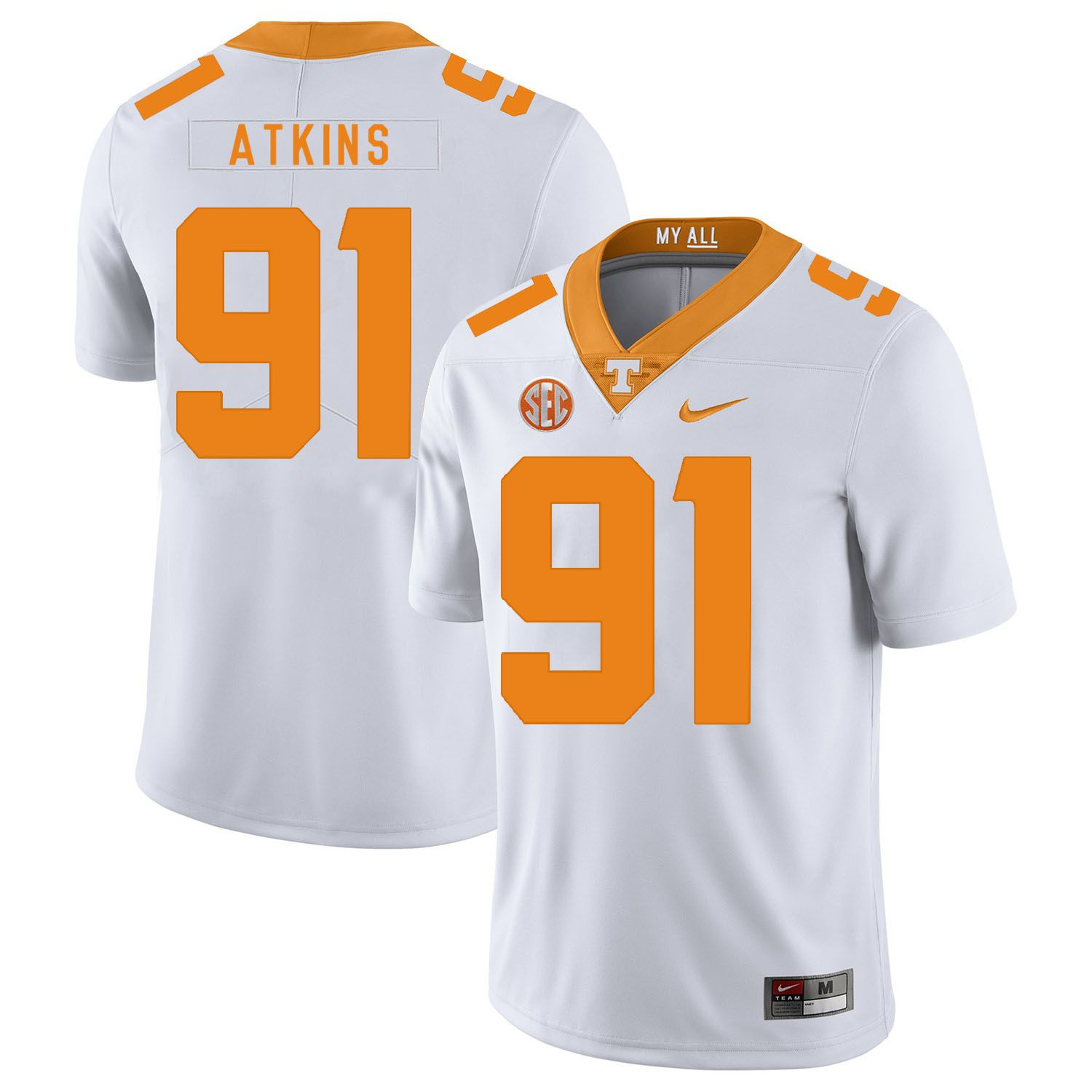 Men Tennessee Volunteers 91 Atkins White Customized NCAA Jerseys