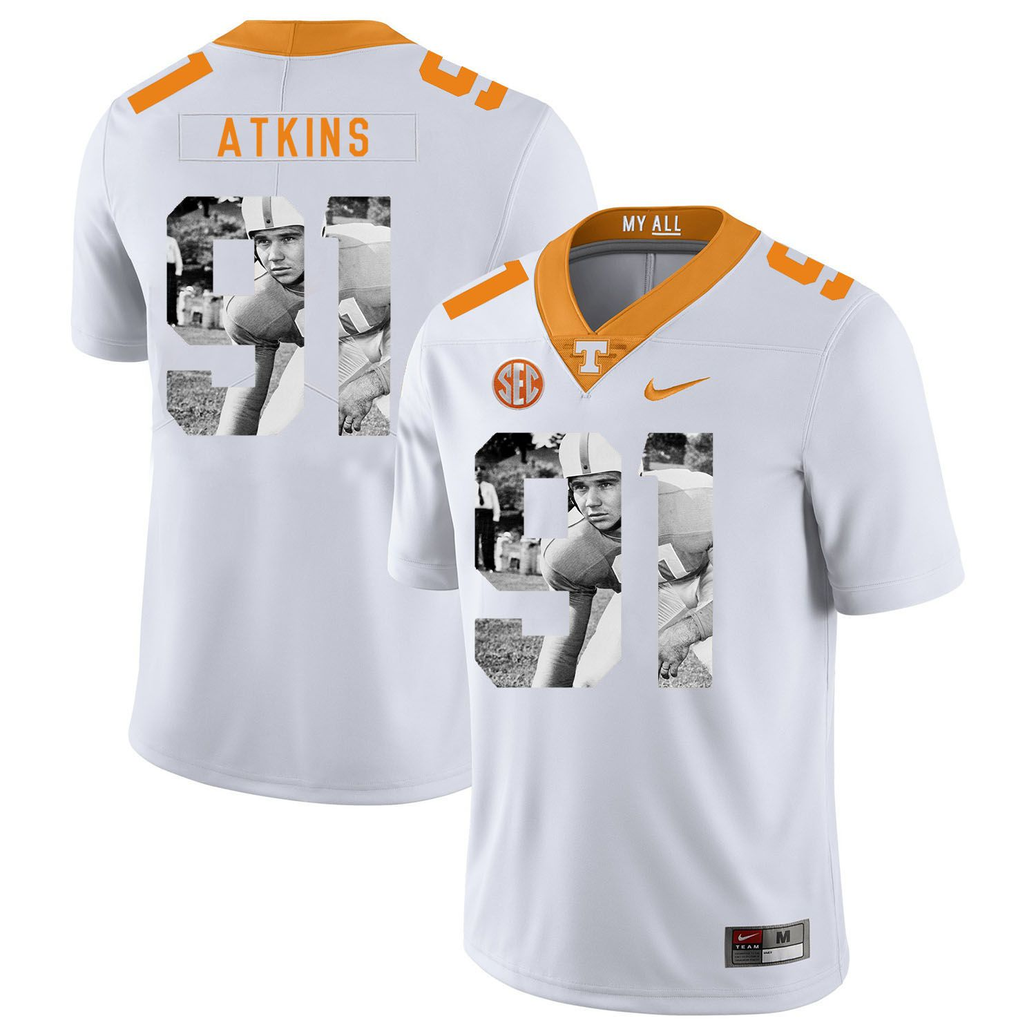 Men Tennessee Volunteers 91 Atkins White Fashion Edition Customized NCAA Jerseys