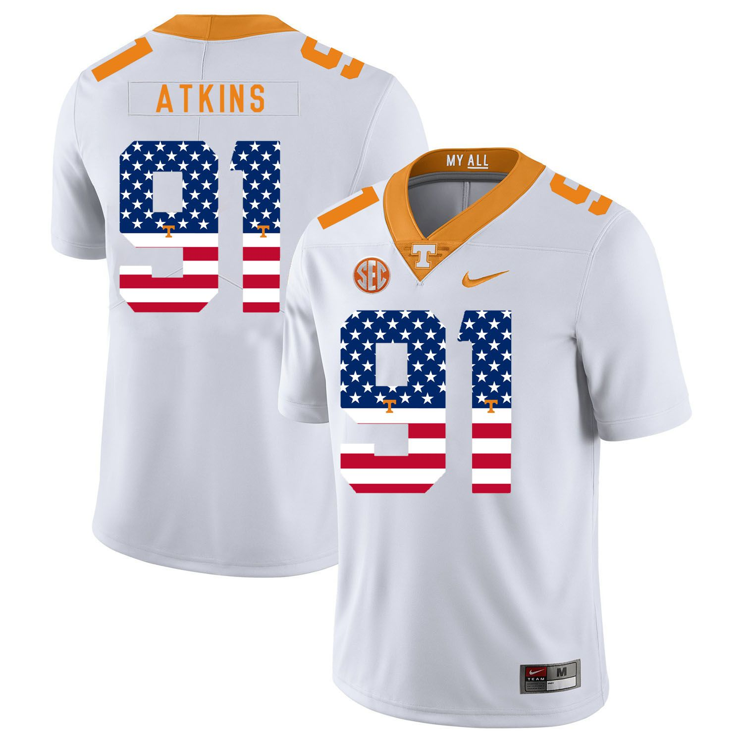 Men Tennessee Volunteers 91 Atkins White Flag Customized NCAA Jerseys