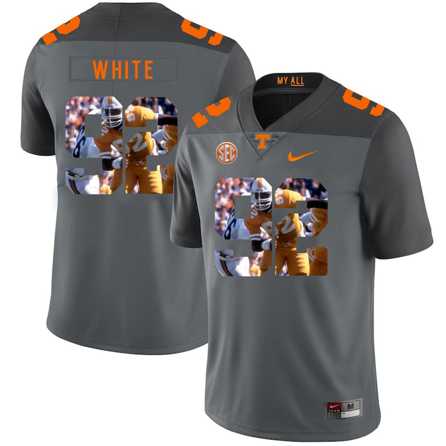 Men Tennessee Volunteers 92 White Grey Fashion Edition Customized NCAA Jerseys