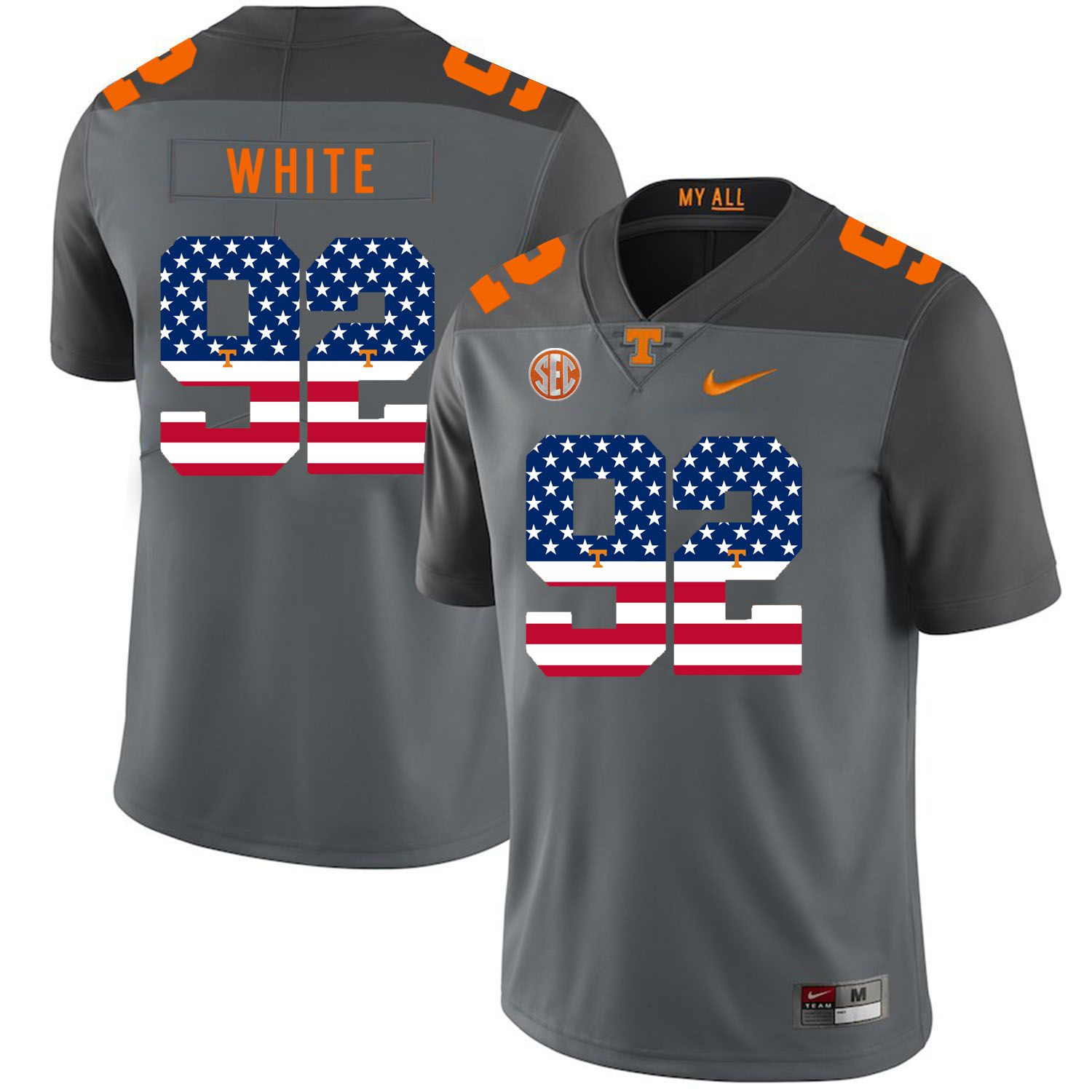 Men Tennessee Volunteers 92 White Grey Flag Customized NCAA Jerseys