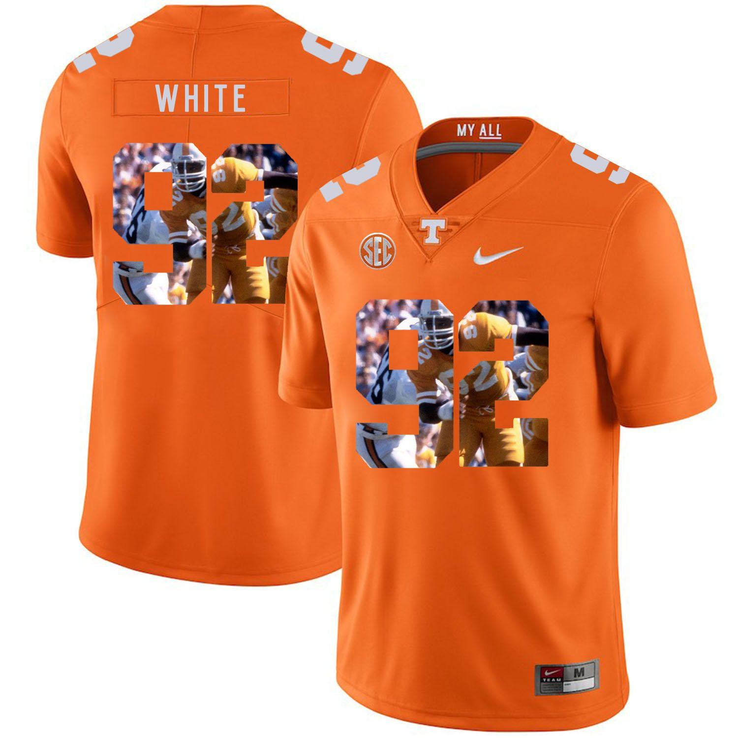Men Tennessee Volunteers 92 White Orange Fashion Edition Customized NCAA Jerseys