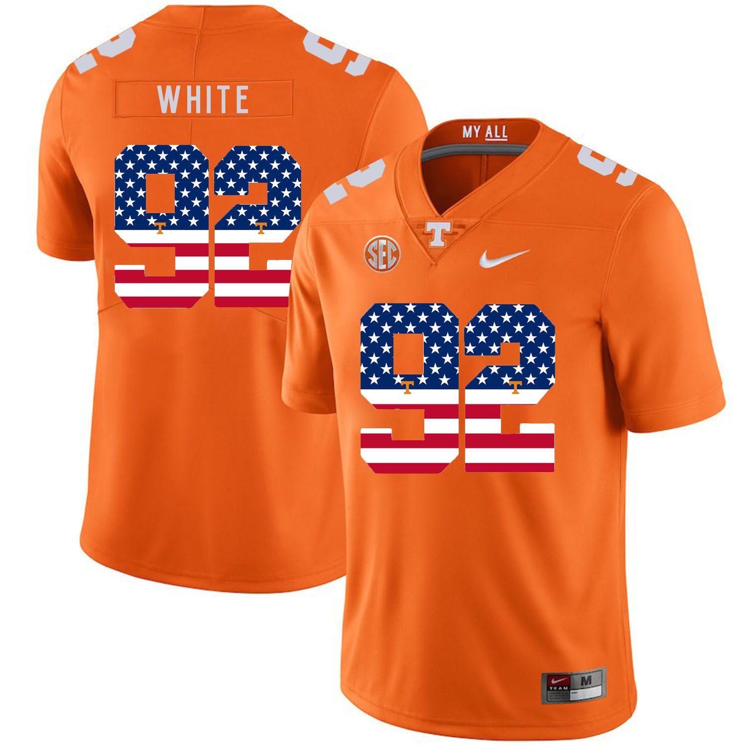 Men Tennessee Volunteers 92 White Orange Flag Customized NCAA Jerseys