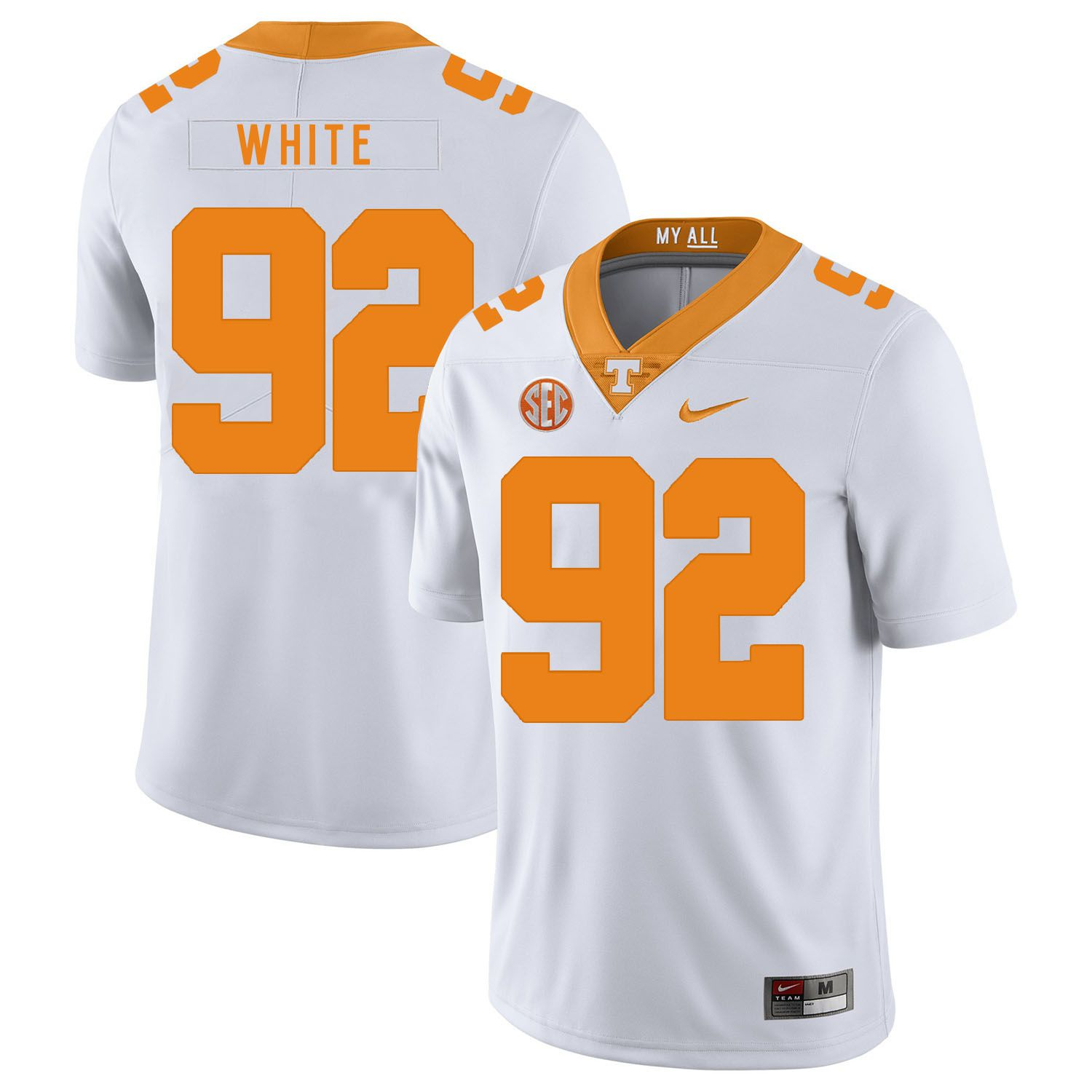 Men Tennessee Volunteers 92 White White Customized NCAA Jerseys