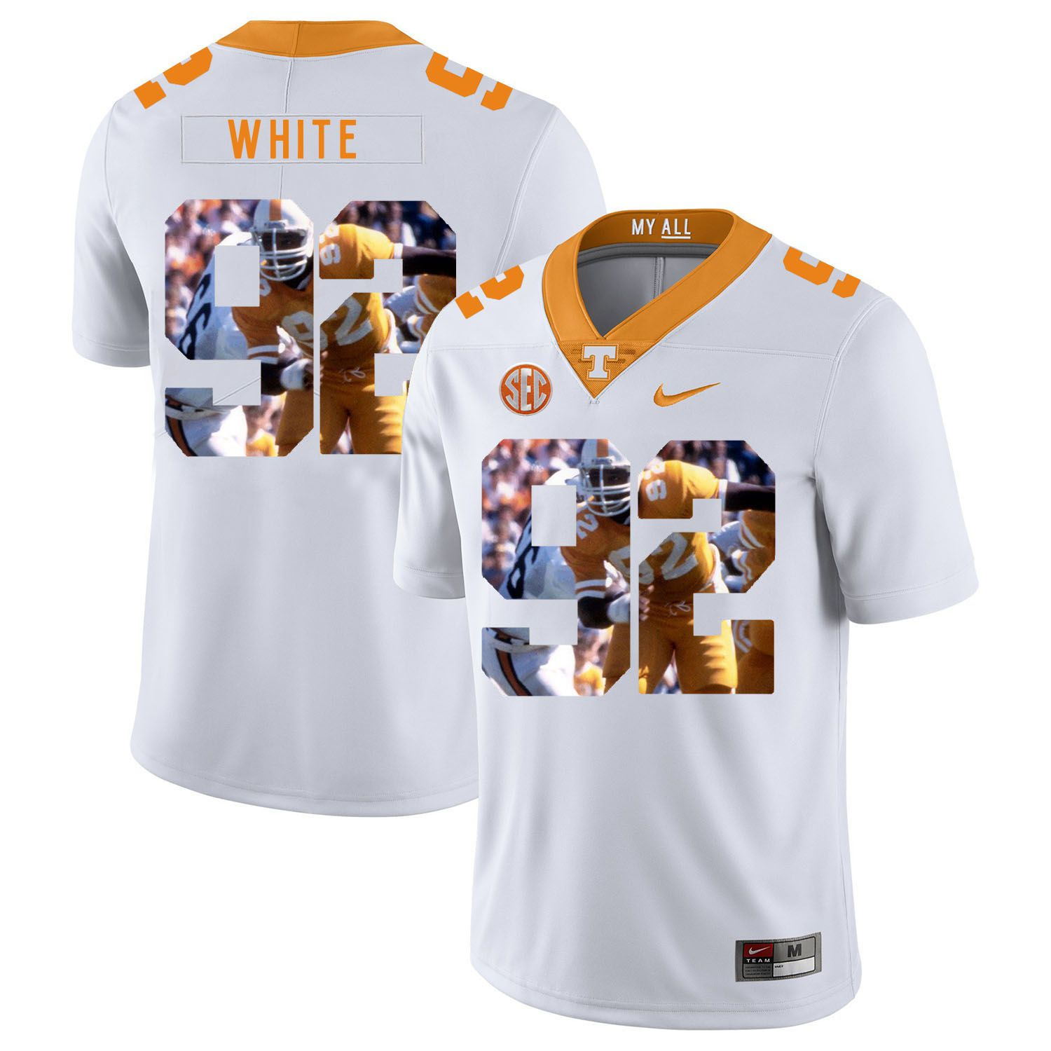 Men Tennessee Volunteers 92 White White Fashion Edition Customized NCAA Jerseys