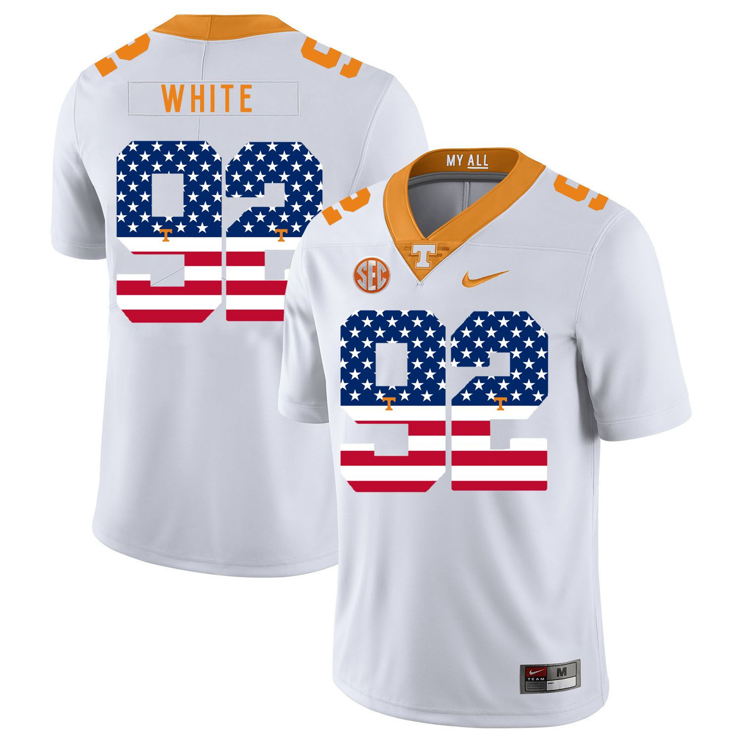 Men Tennessee Volunteers 92 White White Flag Customized NCAA Jerseys