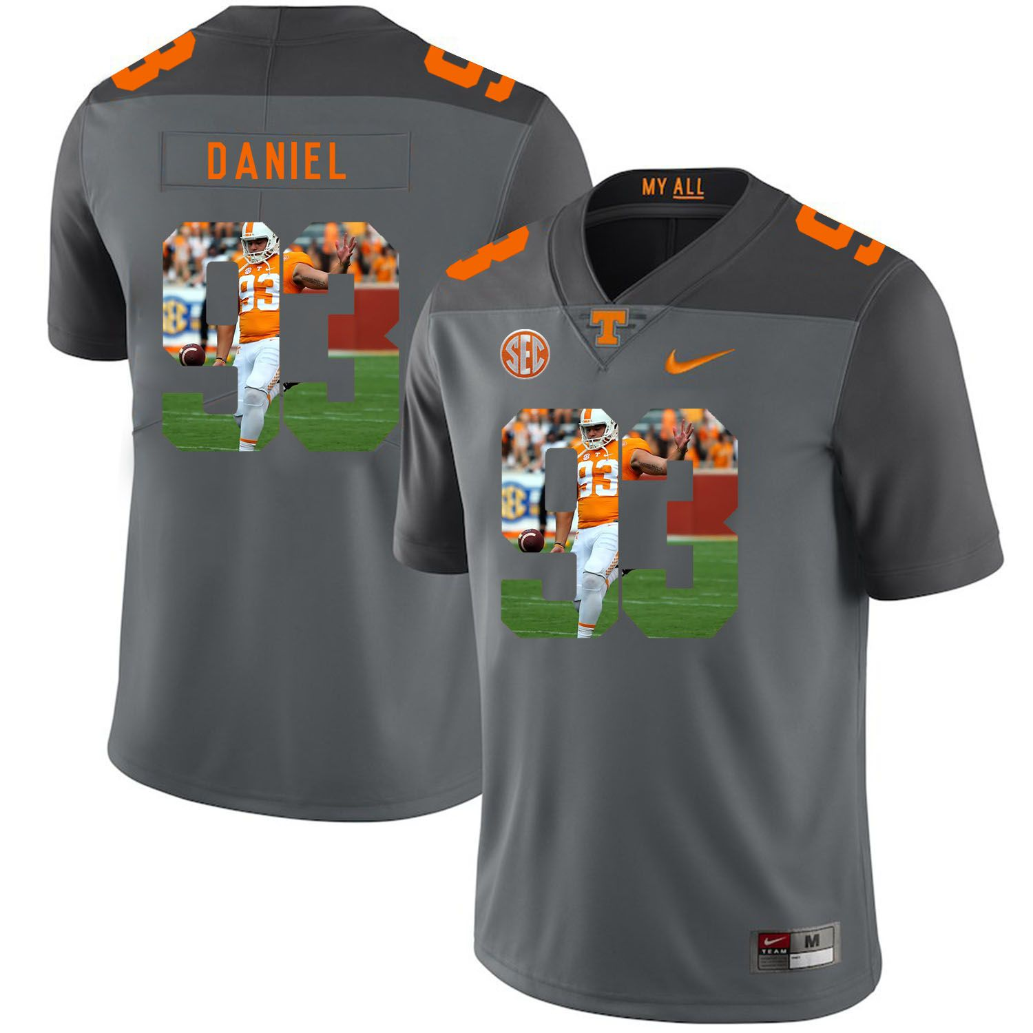 Men Tennessee Volunteers 93 Daniel Grey Fashion Edition Customized NCAA Jerseys
