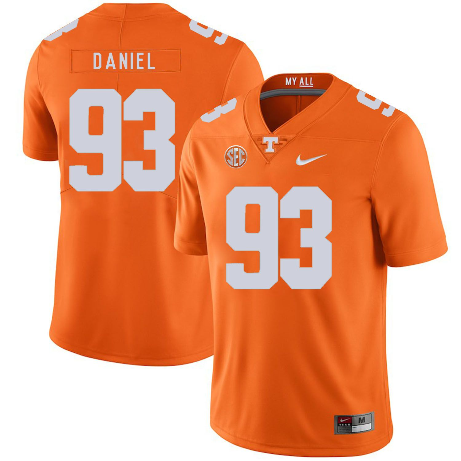 Men Tennessee Volunteers 93 Daniel Orange Customized NCAA Jerseys