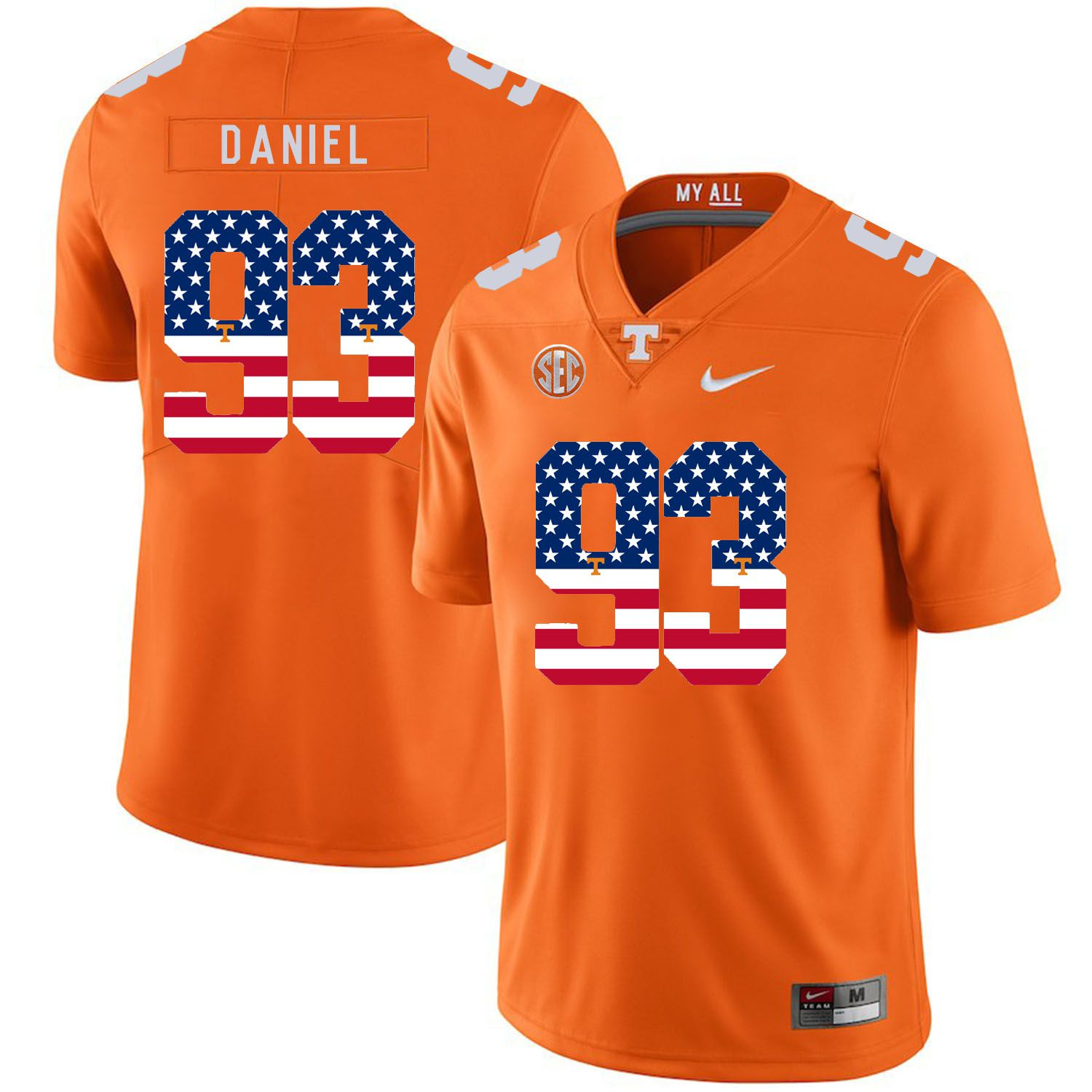 Men Tennessee Volunteers 93 Daniel Orange Flag Customized NCAA Jerseys