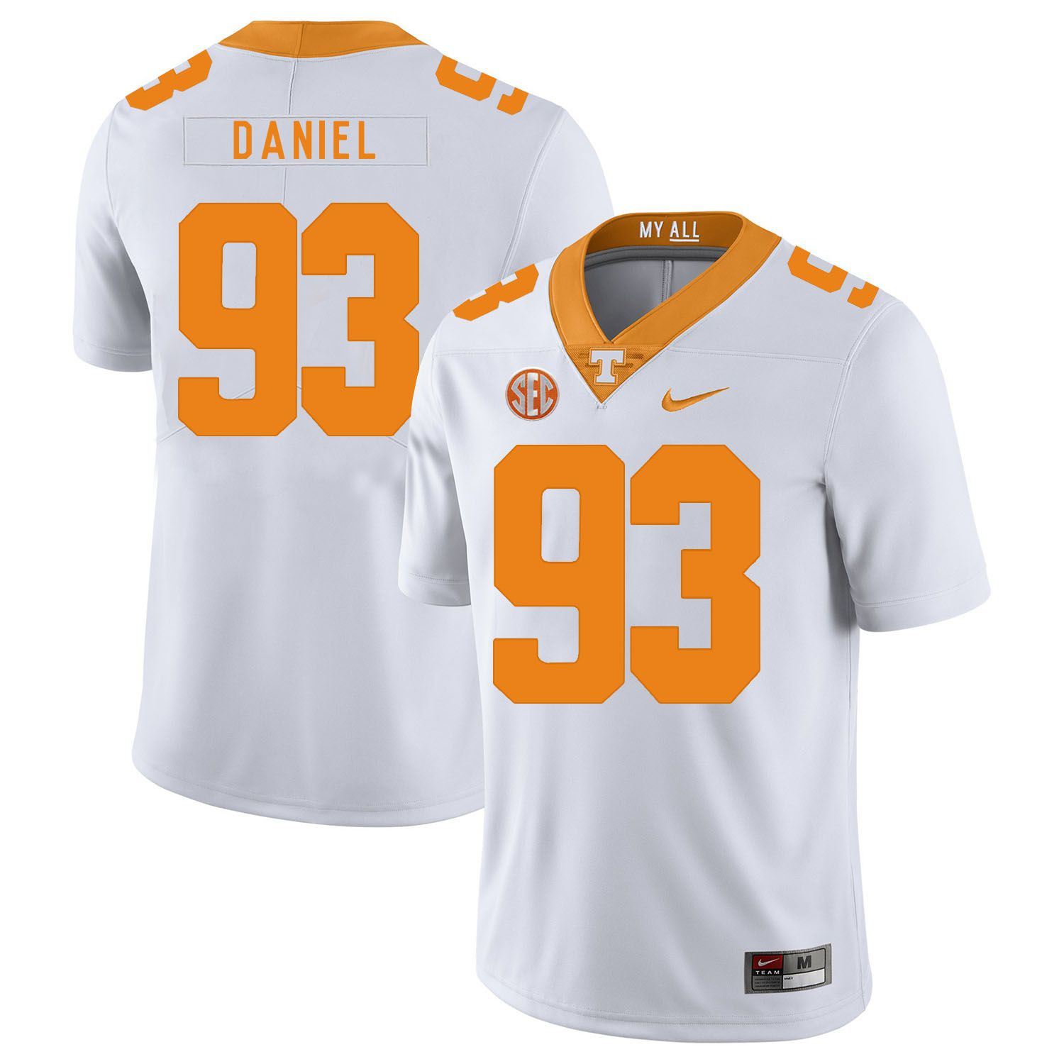 Men Tennessee Volunteers 93 Daniel White Customized NCAA Jerseys