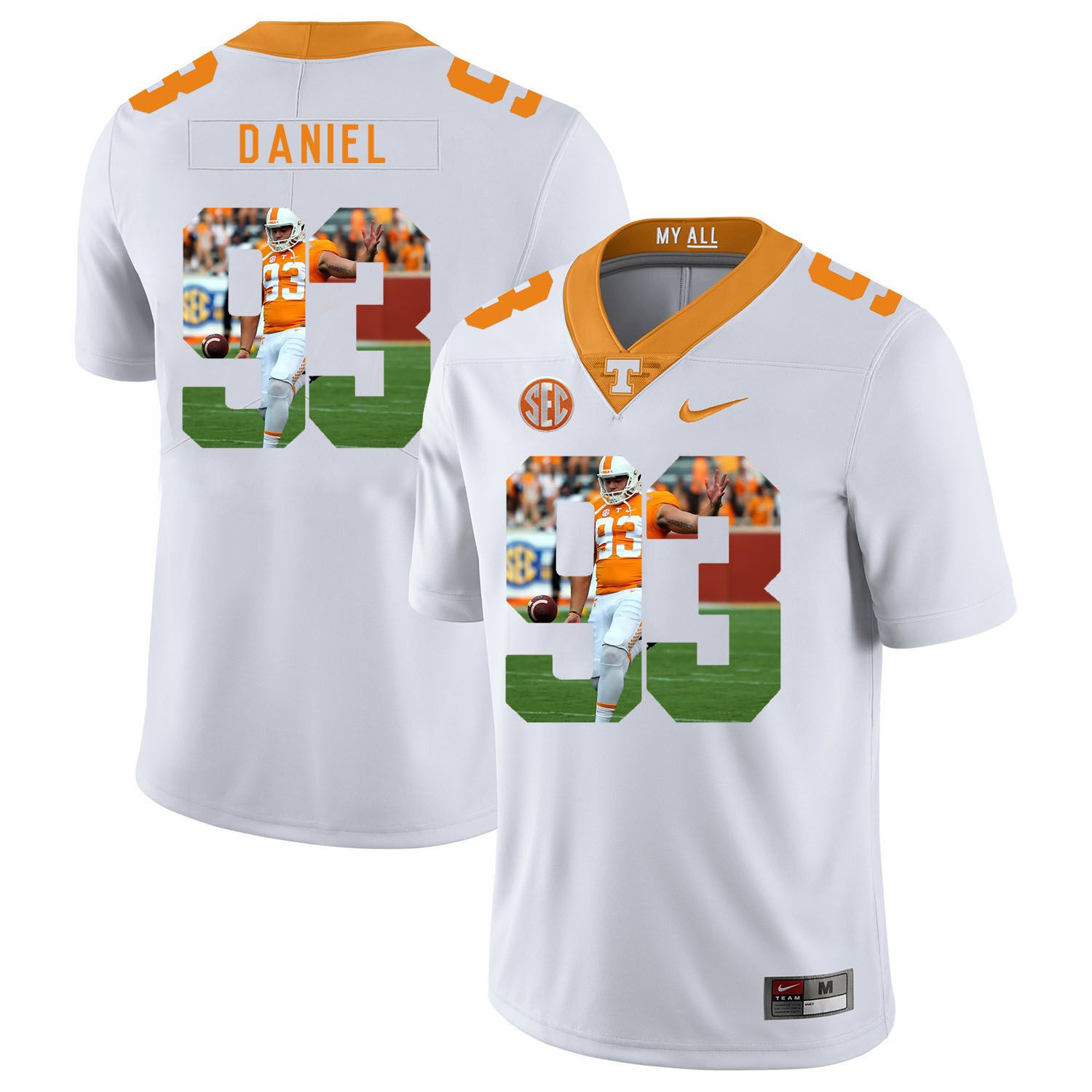 Men Tennessee Volunteers 93 Daniel White Fashion Edition Customized NCAA Jerseys