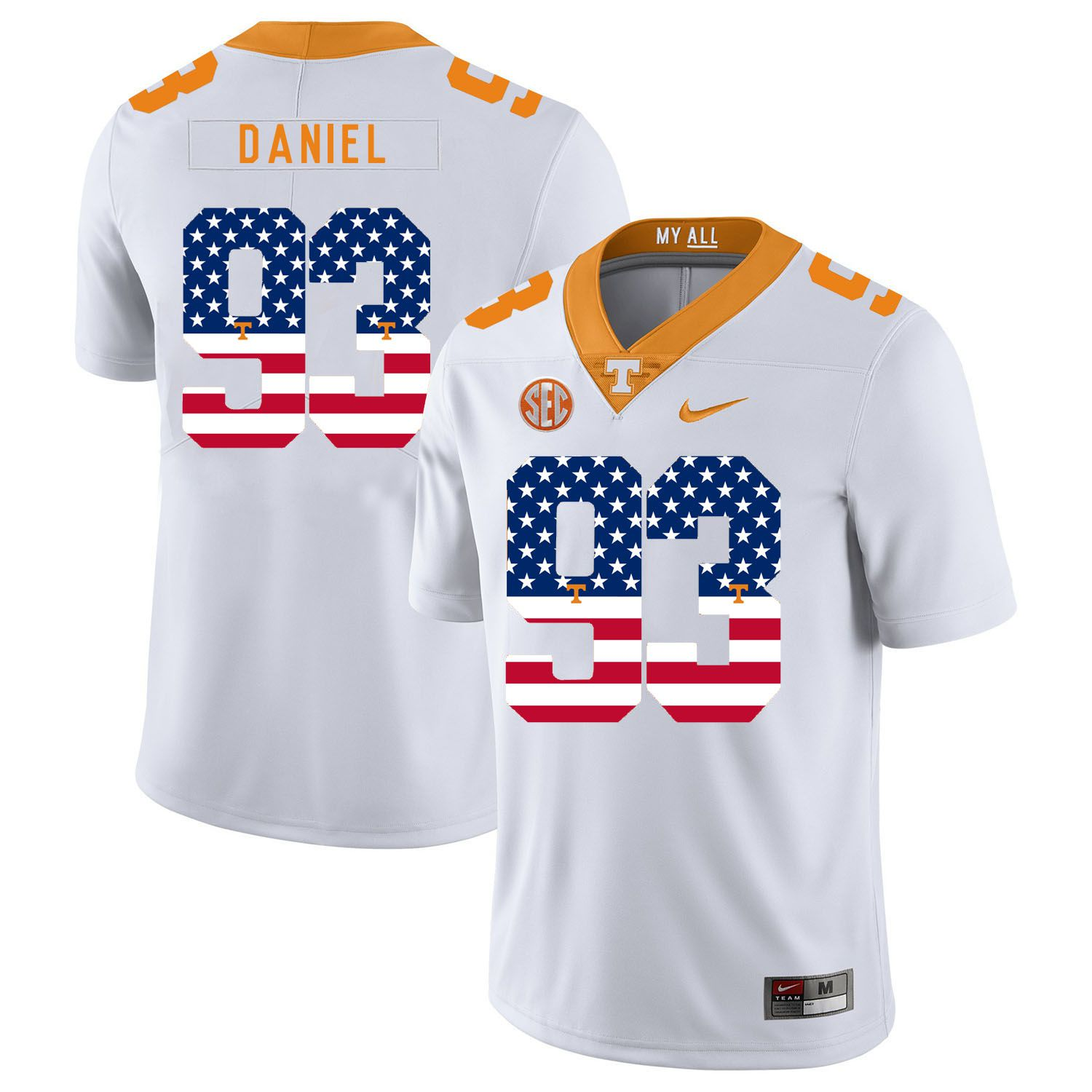Men Tennessee Volunteers 93 Daniel White Flag Customized NCAA Jerseys