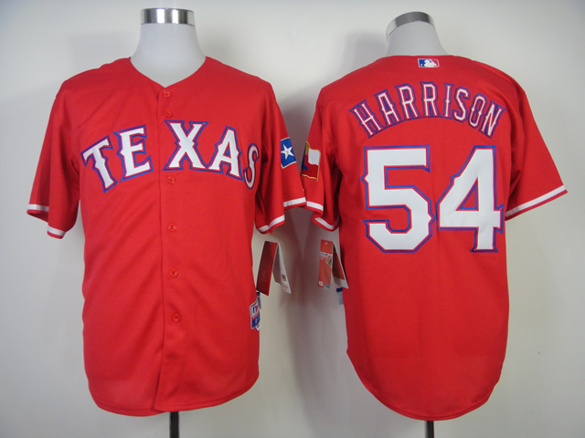 Men Texas Rangers 54 Harrison Red MLB Jerseys