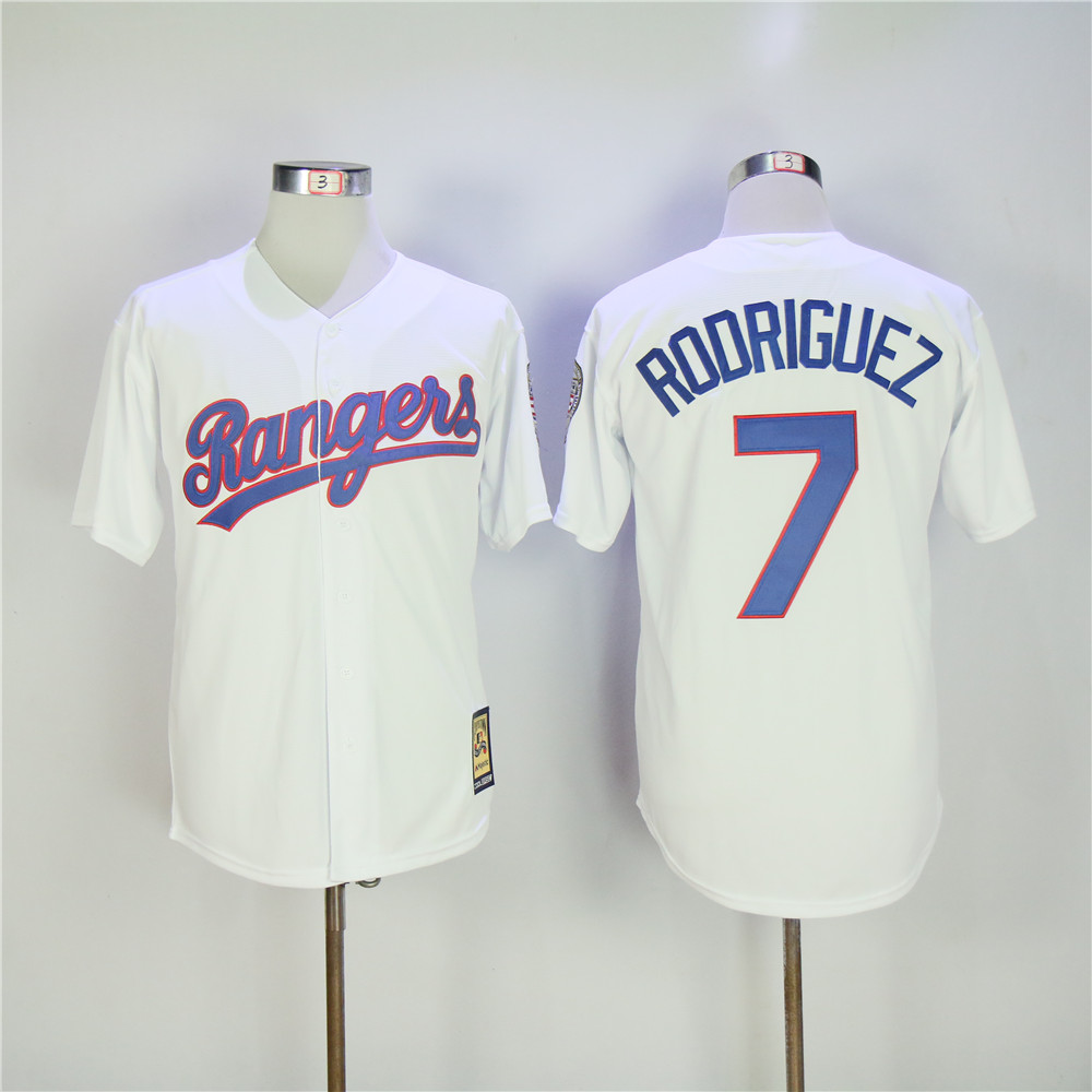 Men Texas Rangers 7 Rodriguez White Throwback MLB Jerseys