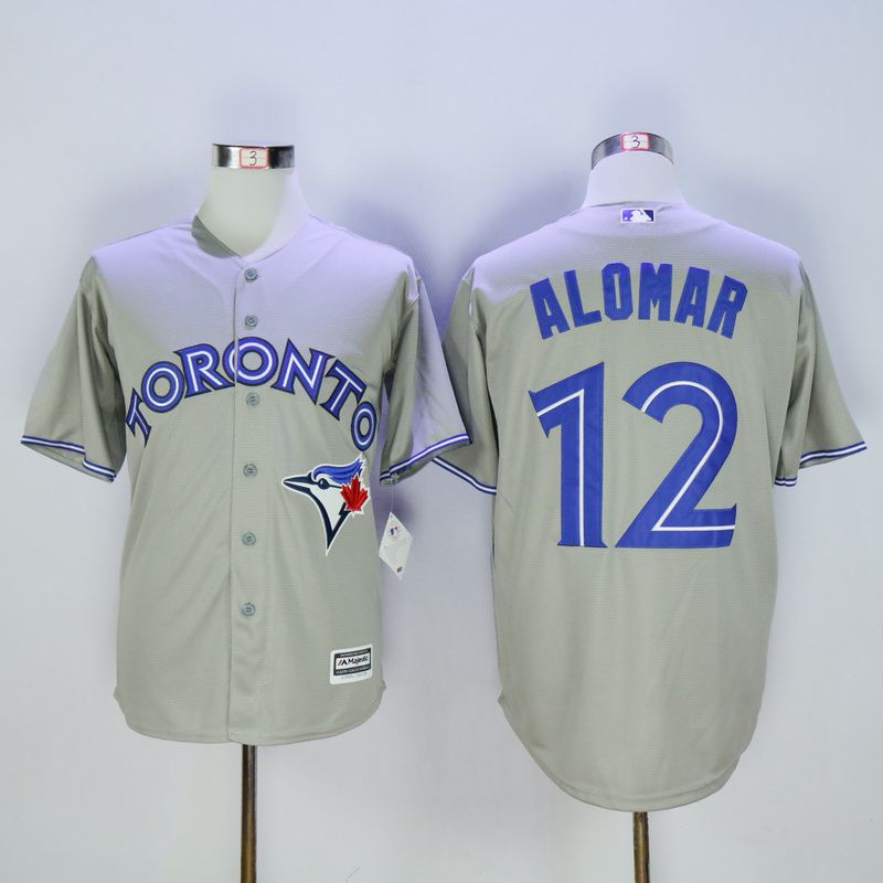 Men Toronto Blue Jays 12 Alomar Grey MLB Jerseys