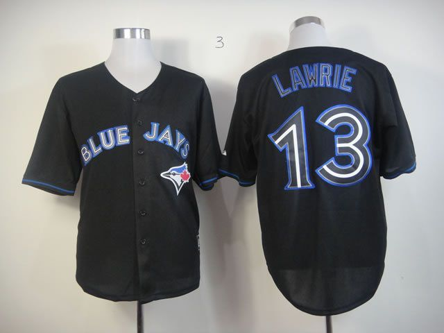 Men Toronto Blue Jays 13 Lawrie Black MLB Jerseys