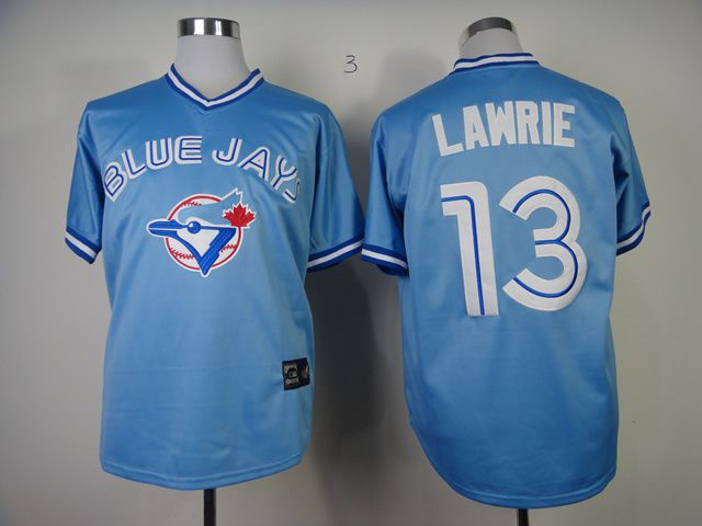 Men Toronto Blue Jays 13 Lawrie Light Blue Throwback MLB Jerseys