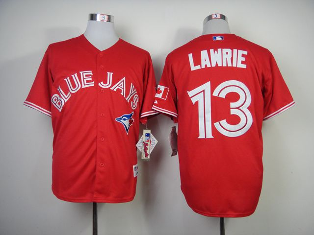 Men Toronto Blue Jays 13 Lawrie Red MLB Jerseys