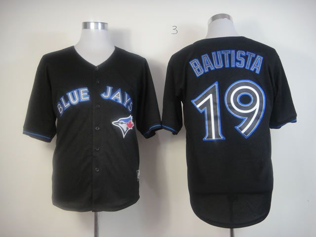 Men Toronto Blue Jays 19 Bautista Black MLB Jerseys