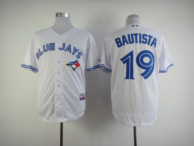 Men Toronto Blue Jays 19 Bautista White MLB Jerseys