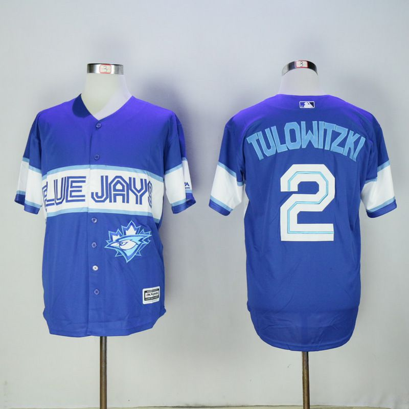 Men Toronto Blue Jays 2 Tulowitzki Blue Game MLB Jerseys