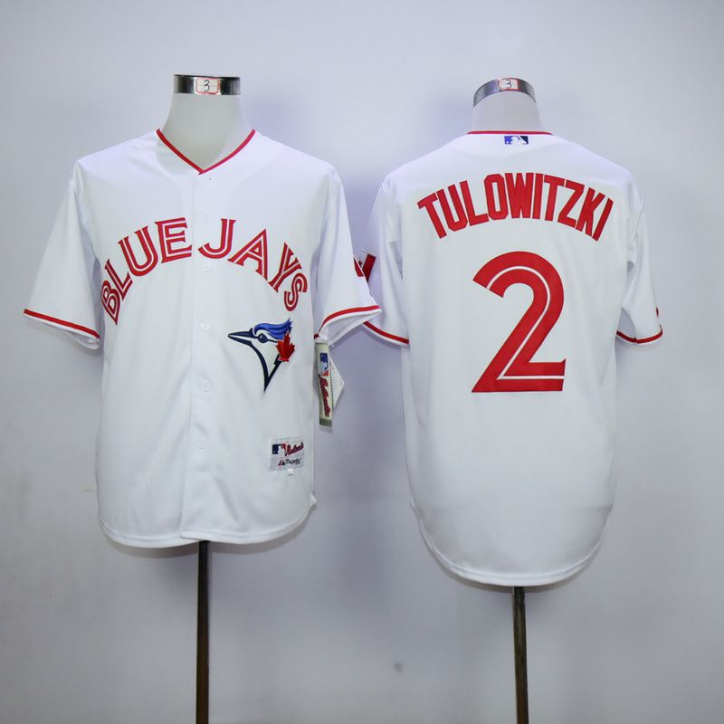 Men Toronto Blue Jays 2 Tulowitzki White red MLB Jerseys
