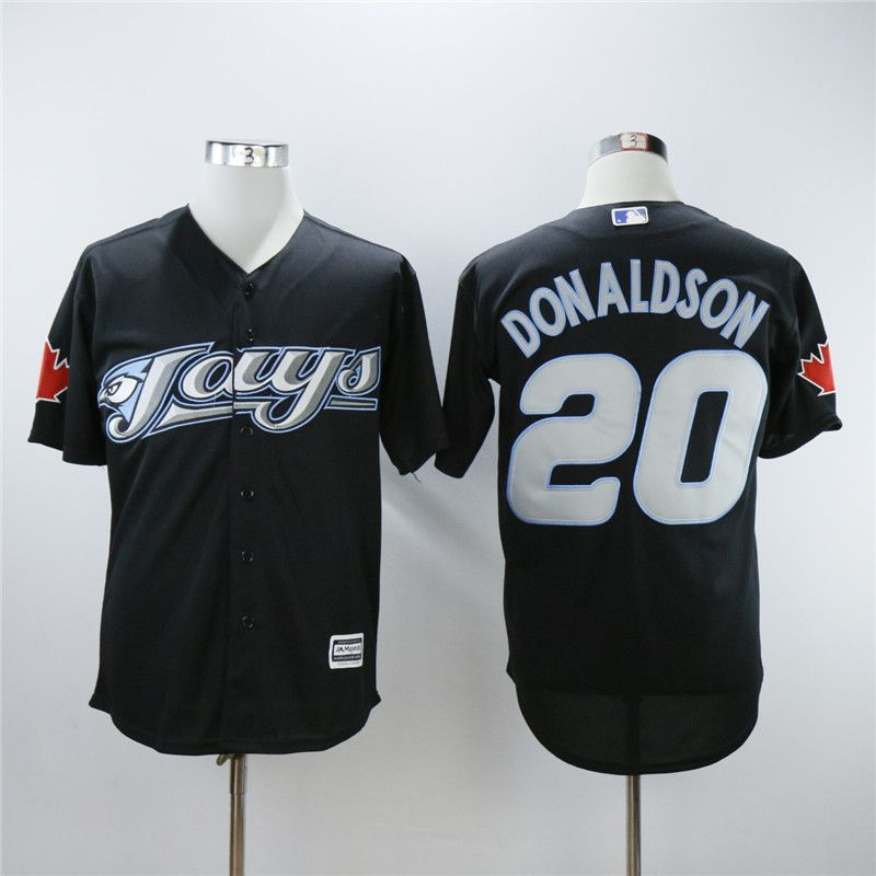 Men Toronto Blue Jays 20 Donaldson Black Throwback MLB Jerseys