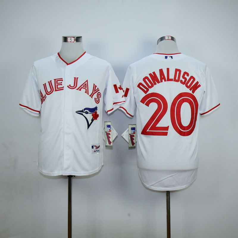 Men Toronto Blue Jays 20 Donaldson White Red MLB Jerseys
