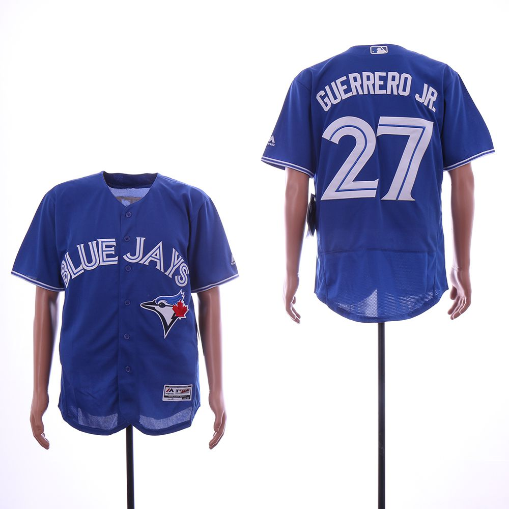 Men Toronto Blue Jays 27 Guerrero jr Blue Elite MLB Jerseys