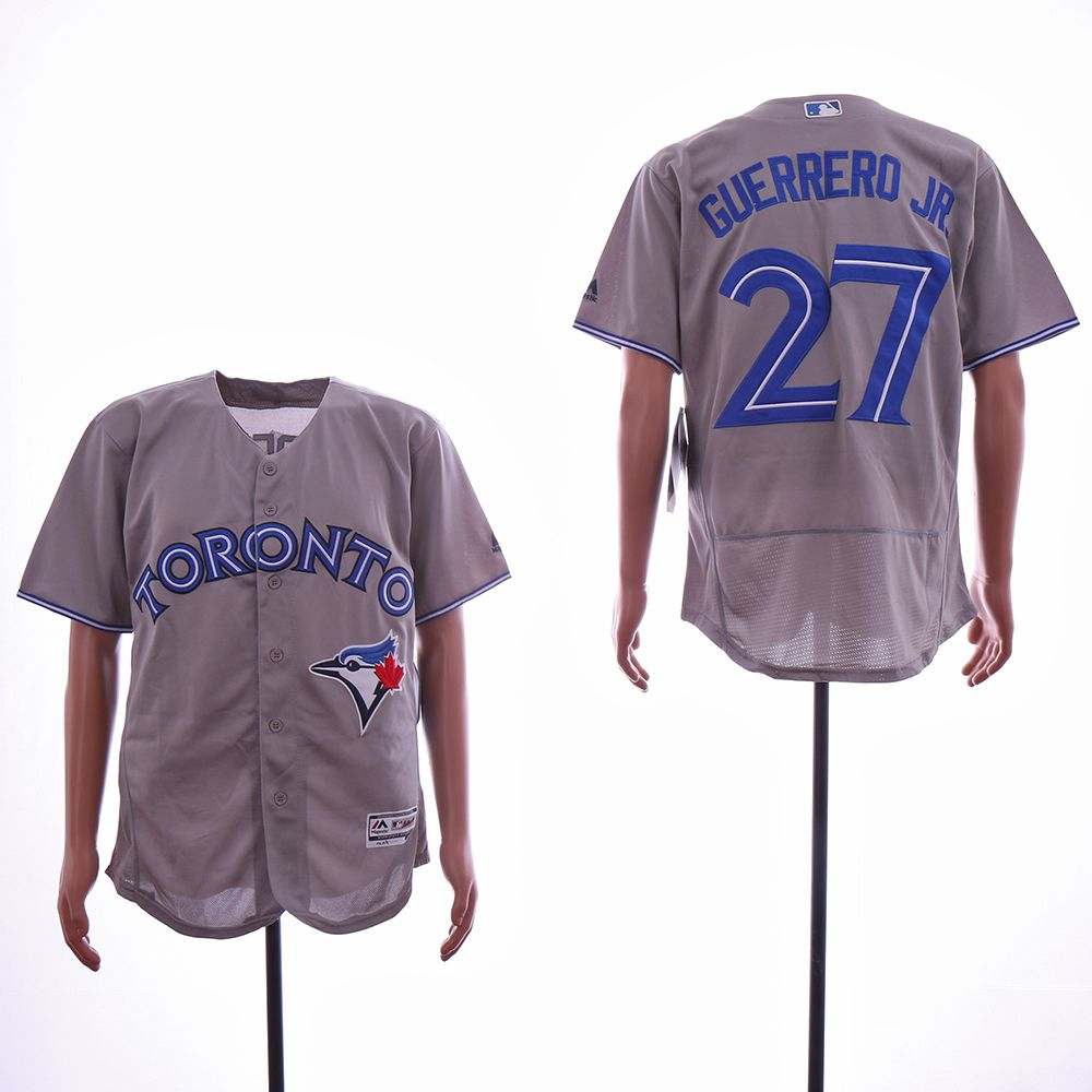 Men Toronto Blue Jays 27 Guerrero jr Grey Elite MLB Jerseys