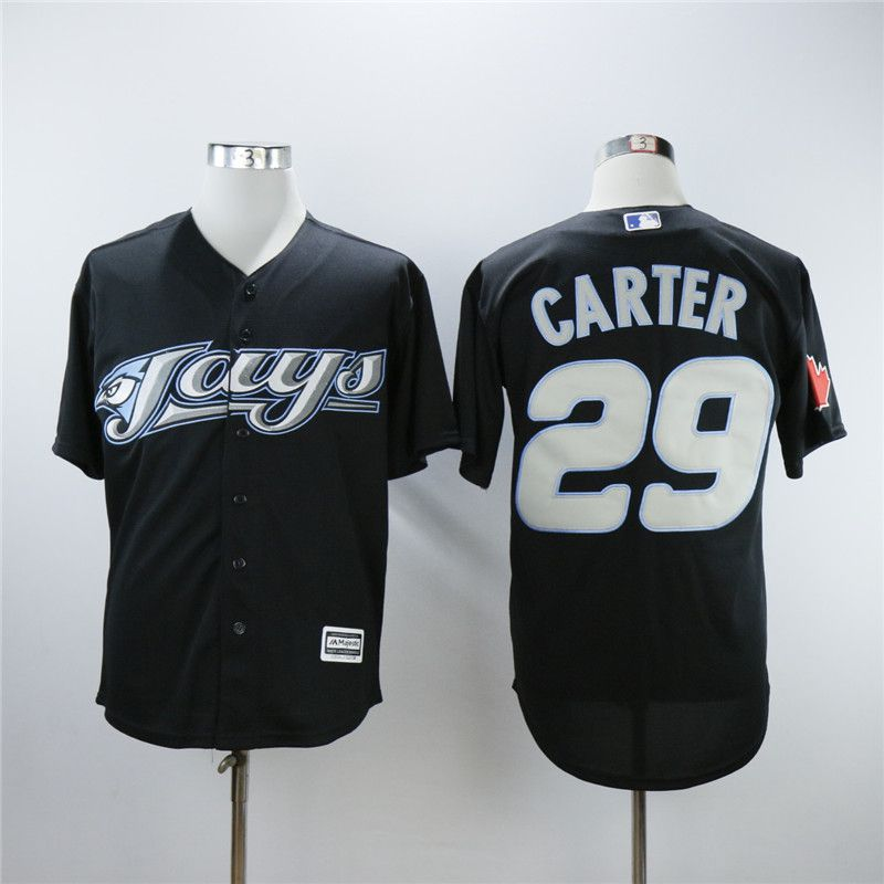 Men Toronto Blue Jays 29 Carter Black Trowback MLB Jerseys