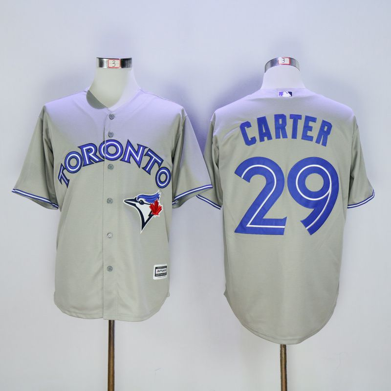 Men Toronto Blue Jays 29 Carter Grey Trowback MLB Jerseys