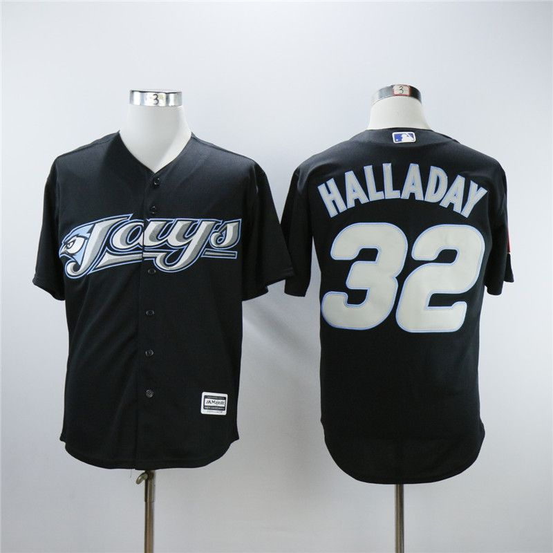 Men Toronto Blue Jays 32 Halladay Black Throwback MLB Jerseys