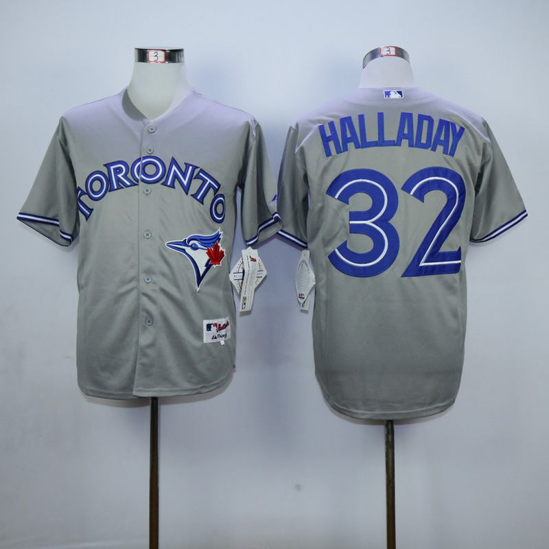 Men Toronto Blue Jays 32 Halladay Grey MLB Jerseys