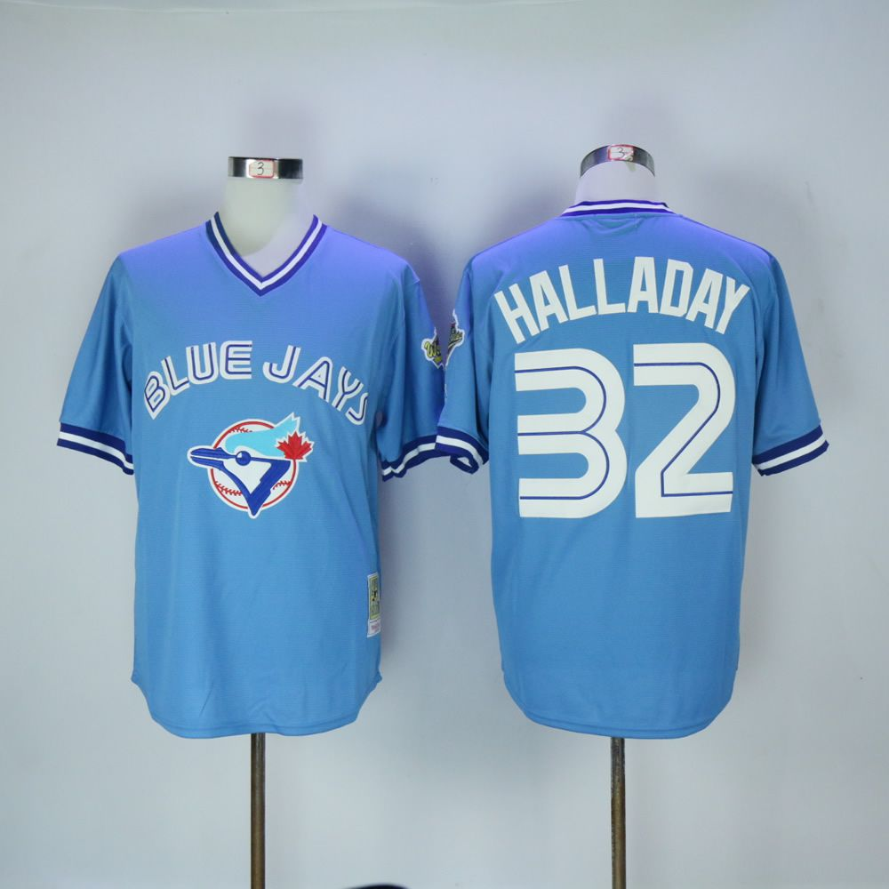 Men Toronto Blue Jays 32 Halladay Light Blue Throwback MLB Jerseys