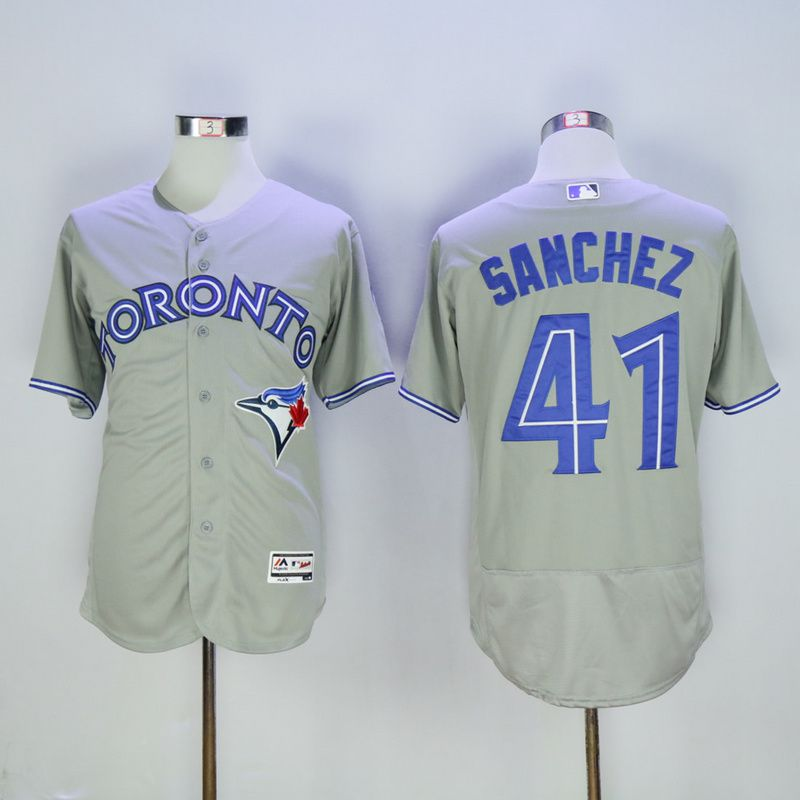 Men Toronto Blue Jays 41 Sanchez Grey MLB Jerseys