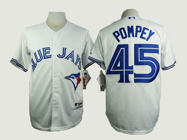 Men Toronto Blue Jays 45 Pompey White MLB Jerseys