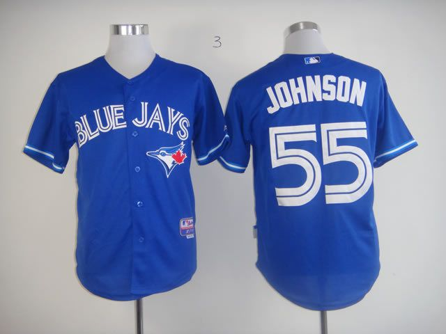 Men Toronto Blue Jays 55 Johnson Blue MLB Jerseys