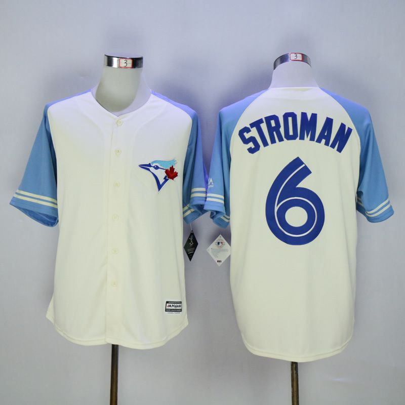Men Toronto Blue Jays 6 Stroman Cream MLB Jerseys