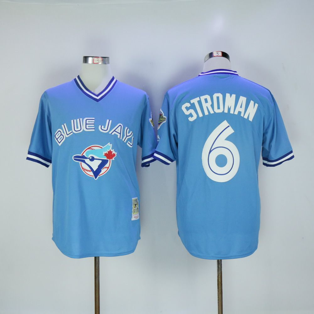 Men Toronto Blue Jays 6 Stroman Light Blue Throwback MLB Jerseys