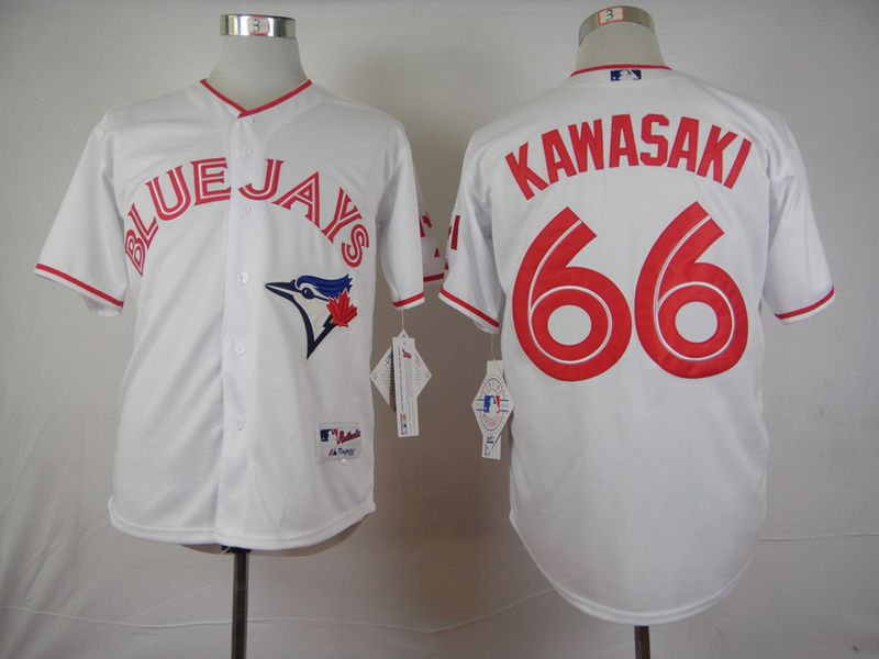 Men Toronto Blue Jays 66 Kawasaki White MLB Jerseys