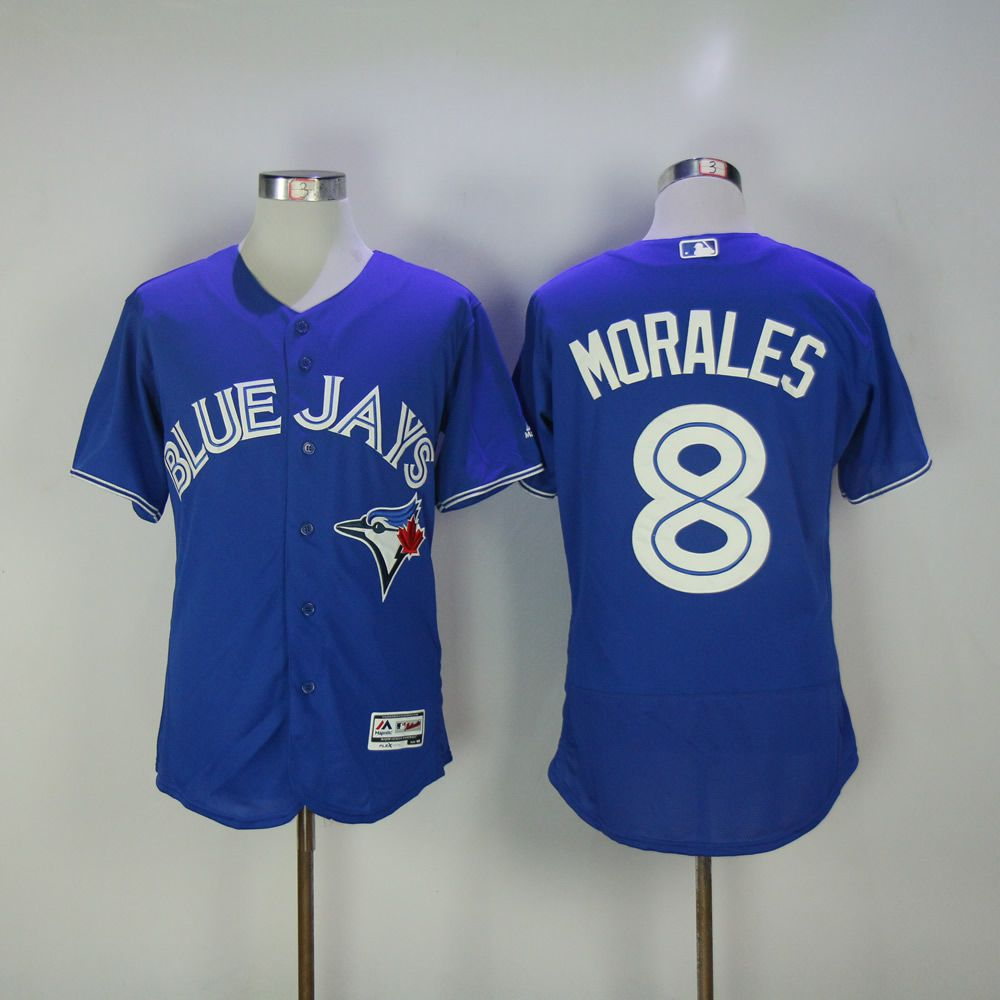 Men Toronto Blue Jays 8 Morales Blue MLB Jerseys