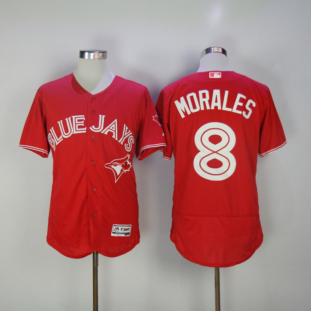 Men Toronto Blue Jays 8 Morales Red MLB Jerseys